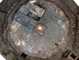 Photogrammetry orthoview to documented fountain.