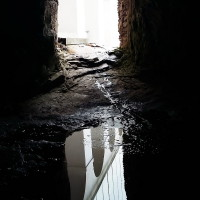 A view from one of the caves hollowed out of rocky ground.