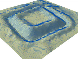 3D isometric views on thw terrain shape with shading and contours.